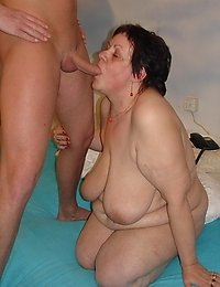 Dripping pussy granny rides on her lover's cock