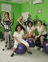 Mature women working out with and without clothes on